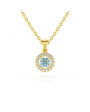 Collar Colgante de Oro 14K Aguamarina y Diamantes Cadena Oro incluida ADEN - 1