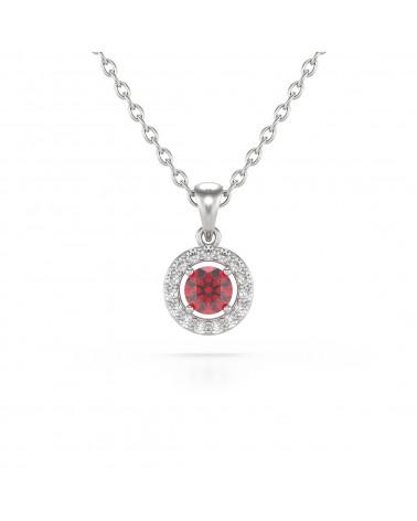 925 Silber Rubin Diamanten Halsketten Anhanger Silberkette enthalten ADEN - 1