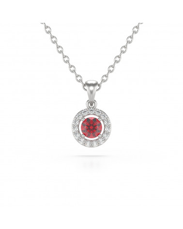 925 Silver Ruby Diamonds Necklace Pendant Chain included ADEN - 1