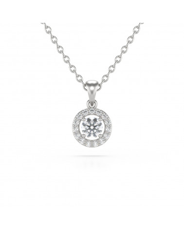 Collar Colgante Aguamarina y Diamantes Cadena Plata de Ley incluida ADEN - 1